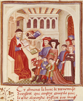 0343469 © Granger - Historical Picture ArchiveLITERATURE & THE ARTS.   A family in front of a financier, miniature from Ethics, Politics, the Economy, by Aristotle, France 15th Century. Full credit: De Agostini / M. Seemuller / Granger, NYC -- All rights reserved.