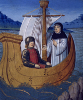 0343493 © Granger - Historical Picture ArchiveLITERATURE & THE ARTS.   A monk and a soldier travelling by boat to the Holy Land, miniature from Lancelot of the Lake, manuscript, France 15th Century. Full credit: De Agostini Picture Library / Granger, NYC -- All rights reserved.