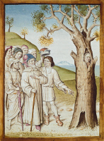 0343509 © Granger - Historical Picture ArchiveLITERATURE & THE ARTS.   A wanted man hiding himself in a tree, miniature from a German translation of The Fables of Bidpai, 1480, manuscript, France 15th Century. Full credit: De Agostini Picture Library / Granger, NYC -- All rights reserv
