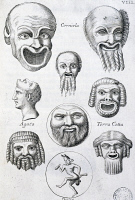 0343648 © Granger - Historical Picture ArchiveLITERATURE & THE ARTS.   Ancient masks for comedy performances, from Scenic masks and comic figures from the ancient Romans, by Francesco De Ficoroni (1664-1747). Italy, 17th century. Full credit: De Agostini Picture Library / Granger, NYC -- All Rights Reserved.
