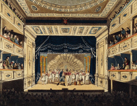 0343774 © Granger - Historical Picture ArchiveLITERATURE & THE ARTS.   Austria - 19th century. Vienna. Interior of the Leopoldstadter Theater (Theater in der Leopoldstadt), the stage during a performance. Full credit: De Agostini / A. Dagli Orti / Granger, NYC -- All rights reserved.