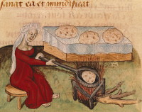 0343842 © Granger - Historical Picture ArchiveLITERATURE & THE ARTS.   Baking biscuits, illustration from a manuscript, France 15th Century. Full credit: De Agostini / M. Seemuller / Granger, NYC -- All rights reserved.