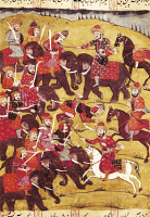 0343880 © Granger - Historical Picture ArchiveLITERATURE & THE ARTS.   Battle scene with elephants, miniature from Shahnameh or The Persian Book of Kings, by Ferdowsi, Arabic manuscript, Persia 17th Century. Full credit: De Agostini / G. Dagli Orti / Granger, NYC -- All rights reserved