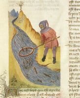 0344094 © Granger - Historical Picture ArchiveLITERATURE & THE ARTS.   Catching fish with a net in a mountain stream, miniature from De diversis Herbis, Latin manuscript by Dioscorides e Lat 928 folio 3 r, France Late 14th Century. Full credit: De Agostini / A. Dagli Orti / Granger, NYC -- All Rights Reserved.