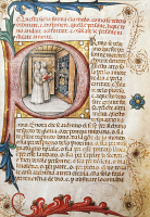 0344326 © Granger - Historical Picture ArchiveLITERATURE & THE ARTS.   Comforting the condemned, illuminated page from the Ritual of the Brethrens from the Mercy of Genoa, manuscript 15th Century. Full credit: De Agostini / N. Marullo / Granger, NYC -- All rights reserved.