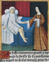0344367 © Granger - Historical Picture ArchiveLITERATURE & THE ARTS.   Convalescence of a sick person, miniature from Lancelot of the Lake, manuscript, France 15th Century. Full credit: De Agostini / G. Dagli Orti / Granger, NYC -- All Rights Reserved.