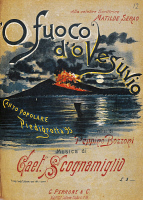 0344428 © Granger - Historical Picture ArchiveLITERATURE & THE ARTS.   Cover of the sheet music for the song O' fuoco d' 'o Vesuvio, Piedigrotta folk song, 1895, music by Gaetano Scognamiglio, words by Peppino Bozzoni. Full credit: De Agostini / L. Romano / Granger, NYC -- All rights r