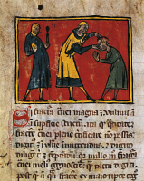 0344689 © Granger - Historical Picture ArchiveLITERATURE & THE ARTS.   Doctor curing a patient, miniature from The Surgery of Master Rogerius by Roggerio dei Frugardi or Rogerius Salernitanus, Latin manuscript, France 14th century. Full credit: De Agostini / M. Seemuller / Granger, NYC -- All Rights Reserved.