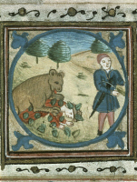 0344827 © Granger - Historical Picture ArchiveLITERATURE & THE ARTS.   Fable of Aesop (620 BC-560 BC), French miniature from 15th century. Full credit: De Agostini / J. L. Charmet / Granger, NYC -- All rights reserved.