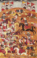 0344873 © Granger - Historical Picture ArchiveLITERATURE & THE ARTS.   Fighting against Asian troops, miniature from Shahnameh or The Persian Book of Kings, by Ferdowsi, Arabic manuscript, Persia 17th Century. Full credit: De Agostini / G. Dagli Orti / Granger, NYC -- All rights reserv
