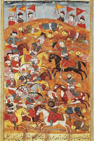 0344874 © Granger - Historical Picture ArchiveLITERATURE & THE ARTS.   Fighting against Asian troops, miniature from Shahnameh or The Persian Book of Kings, by Ferdowsi, Persia 17th Century. Full credit: De Agostini / G. Dagli Orti / Granger, NYC -- All rights reserved.