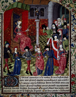 0344911 © Granger - Historical Picture ArchiveLITERATURE & THE ARTS.   Fortuna with a group of dancers, miniature taken from The dance of the blind by the poet Pierre Michault. France, 15th century. Full credit: De Agostini Picture Library / Granger, NYC -- All rights reserved.