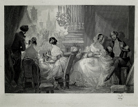 0344964 © Granger - Historical Picture ArchiveLITERATURE & THE ARTS.   France, 19th century. Interior of the Paris Opera, people in a loge. Engraving by Eugene Lami, 1842. Full credit: De Agostini / M. Seemuller / Granger, NYC -- All Rights Reserved.