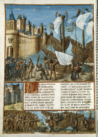 0345044 © Granger - Historical Picture ArchiveLITERATURE & THE ARTS.   French illuminated manuscript. 15th century. Crusaders detachment at Aigues-mortes bastions, ready to embark for the Holy Land Full credit: De Agostini Picture Library / Granger, NYC -- All rights reserved.