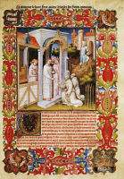 0345052 © Granger - Historical Picture ArchiveLITERATURE & THE ARTS.   Friar Odoric from Pordenone and his travelling companion James of Ireland take their leave of Pope John XXII, miniature from Livre des merveilles du monde (Book of the Wonders of the World) by Marco Polo and Rustichello, France 15th Century. Full credit: De Agostini / M. Seemuller / Granger, NYC -- All rights reserved.