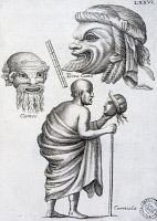 0345345 © Granger - Historical Picture ArchiveLITERATURE & THE ARTS.   Greek actors, from Scenic masks and comic figures from the ancient Romans, by Francesco De Ficoroni (1664-1747). Italy, 17th century. Full credit: De Agostini Picture Library / Granger, NYC -- All rights reserved.