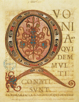 0345492 © Granger - Historical Picture ArchiveLITERATURE & THE ARTS.   Illuminated initial capital letter Q, miniature from The Ebbo Gospels, manuscripts which originated in the Benedictine abbey of Hautvillers, 820-830, France 9th Century. Full credit: De Agostini / G. Dagli Orti / Granger, NYC -- All Rights Reserved.