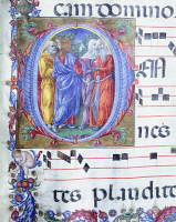 0345677 © Granger - Historical Picture ArchiveLITERATURE & THE ARTS.   Initial capital letter O with Jesus among the false prophets, miniature by Liberale of Verona, from a gradual, 15th Century. Full credit: De Agostini / G. Nimatallah / Granger, NYC -- All rights reserved.