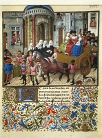 0345855 © Granger - Historical Picture ArchiveLITERATURE & THE ARTS.   Italy, Theseus in Athens, miniature from French manuscript of the Book of Theseus/Theseid of the Nuptials of Emilia by Giovanni Boccaccio, 1339-1341, facsimile  Vienna, Osterreichische Nationalbibliothe Full credit: De Agostini / G. Nimatallah / Granger, NYC -- All rights re
