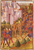 0345936 © Granger - Historical Picture ArchiveLITERATURE & THE ARTS.   John the Good being taken prisoner in Poitiers, miniature from Froissart's Chroniques, France Manuscript 15th Century. Full credit: De Agostini Picture Library / Granger, NYC -- All rights reserved.