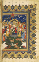 0346010 © Granger - Historical Picture ArchiveLITERATURE & THE ARTS.   King Solomon covered in wisdom and wealth, miniature from Shahnameh or The Persian Book of Kings, by Ferdowsi, Persia 17th Century. Full credit: De Agostini Picture Library / Granger, NYC -- All rights reserved.