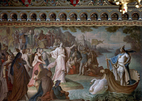 0346099 © Granger - Historical Picture ArchiveLITERATURE & THE ARTS.   Lohengrin arrives in Antwerp on a ship pulled by a swan on the waters of the Scheldt, painting from the Lohengrin mural cycle, by August von Heckel (1824-1883), Neuschwanstein Castle, Fussen. Germany, 19th century. Full credit: De Agostini / A. Dagli Orti / Granger, NYC -- All Rights Reserved.