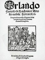 0346134 © Granger - Historical Picture ArchiveLITERATURE & THE ARTS.   Ludovico Ariosto (1474-1533), Orlando furioso (The Frenzy of Orlando). Frontispiece, Milan edition, 1524 Full credit: De Agostini Picture Library / Granger, NYC -- All Rights Reserved.