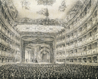 0346181 © Granger - Historical Picture ArchiveLITERATURE & THE ARTS.   Lyric opera at Teatro La Fenice in Venice, engraving. Italy, 18th century. Full credit: De Agostini Picture Library / Granger, NYC -- All rights reserved.