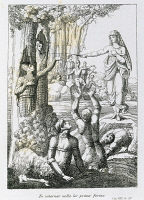 0346323 © Granger - Historical Picture ArchiveLITERATURE & THE ARTS.   Melissa freeing soldiers, Canto VIII from Mad Orlando, epic poem by Ludovico Ariosto (1474-1533), drawing and engraving by Filippo Pistrucci (active 1815-1856), Nikolaus Bettoni publishing, 1831. Full credit: De Agostini / A. Dagli Orti / Granger, NYC -- All rights reserved.