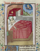 0346667 © Granger - Historical Picture ArchiveLITERATURE & THE ARTS.   Obadiah's dream, miniature from Pope John XXII's Bible, Latin manuscript from The Papal palace in Avignon, folio 110 recto, France 15th Century. Full credit: De Agostini Picture Library / Granger, NYC -- All rights