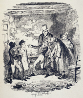 0346675 © Granger - Historical Picture ArchiveLITERATURE & THE ARTS.   Oliver welcomed by Fagin, scene from Oliver Twist, novel by Charles Dickens (1812-1870), illustration by George Cruikshank (1792-1878), 1838. Full credit: De Agostini Picture Library / Granger, NYC -- All rights res