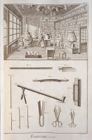 0346854 © Granger - Historical Picture ArchiveLITERATURE & THE ARTS.   Plate showing a furrier workshop and tools. Engraving from Denis Diderot, Jean Baptiste Le Rond d'Alembert, L'Encyclopedie, 1751-1757. Entitled Fourreur (Furrier). Full credit: De Agostini Picture Library / Granger, NYC -- All Rights Reserved.