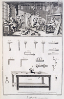 0346967 © Granger - Historical Picture ArchiveLITERATURE & THE ARTS.   Plate showing the fabrication of music instruments, workshop and tools. Engraving from Denis Diderot, Jean Baptiste Le Rond d'Alembert, L'Encyclopedie, 1751-1757. Entitled Lutherie (Music Instruments Making). Full credit: De Agostini Picture Library / Granger, NYC -- All rig