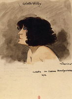 0347250 © Granger - Historical Picture ArchiveLITERATURE & THE ARTS.   Portrait of Colette Willy (1873-1954) at Montparnasse Casino in Paris in 1912. Watercolour with a dedication by Jean Texcier (1888-1957). Full credit: De Agostini / M. Seemuller / Granger, NYC -- All rights reserved