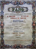 0348208 © Granger - Historical Picture ArchiveLITERATURE & THE ARTS.   Poster for the opening of the New Theatre of Fortune, Fano, musical season of 1863. Italy, 19th century. Full credit: De Agostini Picture Library / Granger, NYC -- All Rights Reserved.