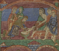0348280 © Granger - Historical Picture ArchiveLITERATURE & THE ARTS.   Radegunda washing the feet of the poor, miniature from the Life of Saint Radegunda, illumination from Poitiers, Abbey of Saint Croix, manuscript folio 29 verso, France 11th Century. Full credit: De Agostini / G. Dagli Orti / Granger, NYC -- All rights reserved.