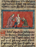 0348293 © Granger - Historical Picture ArchiveLITERATURE & THE ARTS.   Reduction of a fractured arm, miniature from The Surgery of Master Rogerius by Roggerio dei Frugardi or Rogerius Salernitanus, Latin manuscript, France 14th century. Full credit: De Agostini / M. Seemuller / Granger, NYC -- All Rights Reserved.