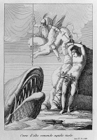 0348371 © Granger - Historical Picture ArchiveLITERATURE & THE ARTS.   Ruggiero and the whale, Canto X from Mad Orlando, epic poem by Ludovico Ariosto (1474-1533), drawing and engraving by Filippo Pistrucci (active 1815-1856), Nikolaus Bettoni publishing, 1831. Full credit: De Agostini / A. Dagli Orti / Granger, NYC -- All rights reserved.