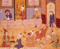 0348467 © Granger - Historical Picture ArchiveLITERATURE & THE ARTS.   Scene at a banquet, illustration from the Lyrics of Hafiz, Persia 16th Century. Full credit: De Agostini Picture Library / Granger, NYC -- All rights reser