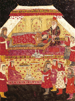0348534 © Granger - Historical Picture ArchiveLITERATURE & THE ARTS.   Scene in a harem, miniature from Shahnameh or The Persian Book of Kings, by Ferdowsi, Persia 17th Century. Full credit: De Agostini / G. Dagli Orti / Granger, NYC -- All Rights Reserved.