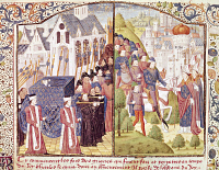 0348736 © Granger - Historical Picture ArchiveLITERATURE & THE ARTS.   St Louis's funeral in Paris and Charles VI 's Coronation in Reims, miniature from Froissart's Chroniques, France 15th Century. Full credit: De Agostini Picture Library / Granger, NYC -- All rights reserved.