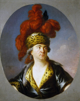 0348890 © Granger - Historical Picture ArchiveLITERATURE & THE ARTS.   The actor Henri-Louis Cain, known as Lekain (1729-1788), in the role of Genghis Khan, by Simon Bernard Lenoir (1729-1791), oil on canvas. Full credit: De Agostini / G. Dagli Orti / Granger, NYC -- All rights reserve