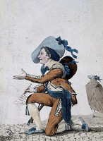 0348906 © Granger - Historical Picture ArchiveLITERATURE & THE ARTS.   The actor Joseph-Jean-Baptist Albouy, known as Dazincourt (1747-1809) in the role of Figaro in The Barber of Seville or the useless precaution, 1775, by Pierre-Augustin Caron de Beaumarchais (1732-1799), engraving. Full credit: De Agostini / G. Dagli Orti / Granger, NYC -- All Rights Reserved.