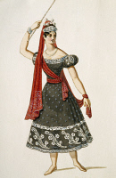 0349003 © Granger - Historical Picture ArchiveLITERATURE & THE ARTS.   The Austrian dancer Fanny Elssler, of the pseudonym Franziska Elssler (1810-1884) in stage costume. Colour print, 19th century. Full credit: De Agostini / A. Dagli Orti / Granger, NYC -- All rights reserved.