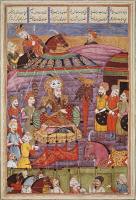 0349040 © Granger - Historical Picture ArchiveLITERATURE & THE ARTS.   The Black tent for the heads of the Persian army, miniature from Shahnameh or The Persian Book of Kings, by Ferdowsi, Arabic manuscript, Persia 17th Century. Full credit: De Agostini / M. Seemuller / Granger, NYC -- All Rights Reserved.