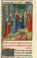 0349110 © Granger - Historical Picture ArchiveLITERATURE & THE ARTS.   The coronation of Louis of Anjou, miniature from Froissart's Chroniques, France 15th Century. Full credit: De Agostini Picture Library / Granger, NYC -- All Rights Reserved.