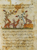 0349116 © Granger - Historical Picture ArchiveLITERATURE & THE ARTS.   The council of hares, Arabic miniature from The Fables of Bidpai, 14th Century. Full credit: De Agostini Picture Library / Granger, NYC -- All rights reser