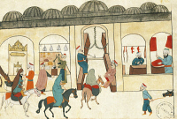 0349121 © Granger - Historical Picture ArchiveLITERATURE & THE ARTS.   The covered bazaar in Istanbul, miniature from Turkish Memories, Arabic manuscript, Cicogna Codex, Turkey 17th Century. Full credit: De Agostini / A. Dagli Orti / Granger, NYC -- All rights reserved.