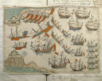0349242 © Granger - Historical Picture ArchiveLITERATURE & THE ARTS.   The fleet passing the Dardanelles, miniature from Turkish Memories, Arabic manuscript, Cicogna Codex, Turkey, 17th Century. Full credit: De Agostini / A. Dagli Orti / Granger, NYC -- All rights reserved.