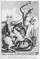 0349269 © Granger - Historical Picture ArchiveLITERATURE & THE ARTS.   The giantess, Canto VII from Mad Orlando, epic poem by Ludovico Ariosto (1474-1533), drawing and engraving by Filippo Pistrucci (active 1815-1856), Nikolaus Bettoni publishing, 1831. Full credit: De Agostini / A. Dagli Orti / Granger, NYC -- All rights reserved.
